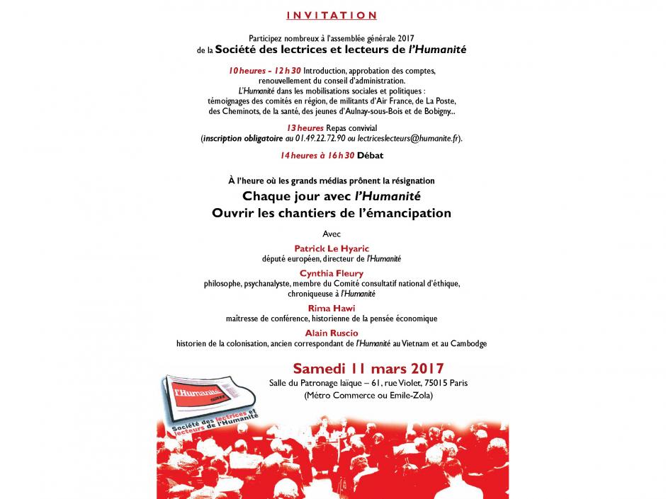 Invitation à l'Assemblée générale de la Société des lectrices et lecteurs de l'Humanité