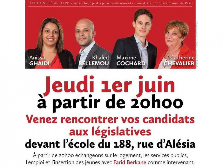 Rencontre avec Anissa Ghaïdi et Maxime Cochard Candidats des 10ème et 11ème circonscription ce jeudi 1er juin
