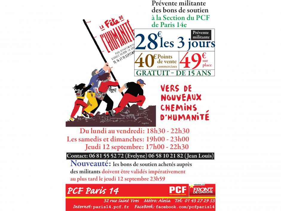 Prévente militante des bons de soutien de la Fête de l'Humanité 2019 à la Section du PCF de Paris 14e