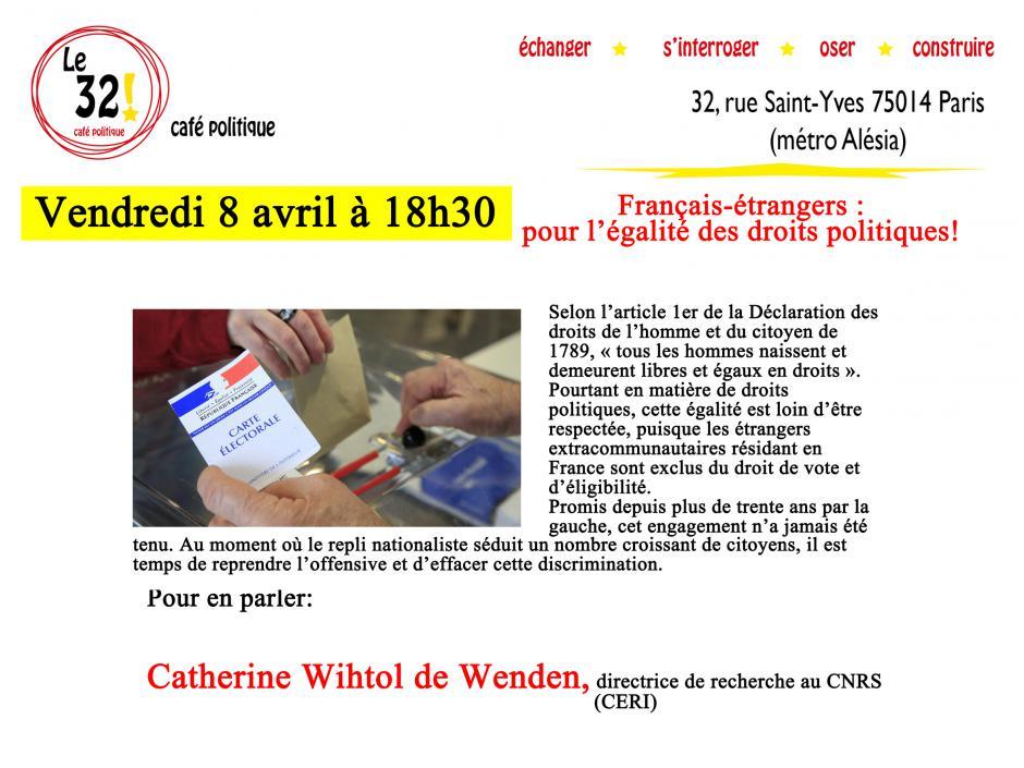 Français-étrangers: pour l'égalite des droits politiques!