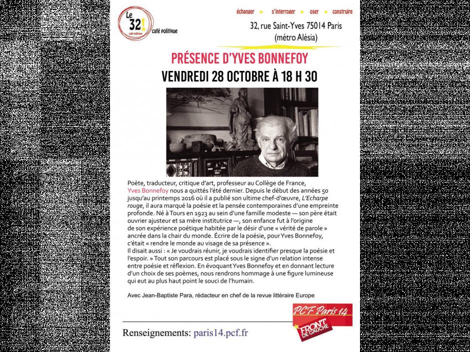 Présence d'Yves Bonnefoy Avec Jean-Baptiste Para, rédacteur en chef de la revue littéraire Europe