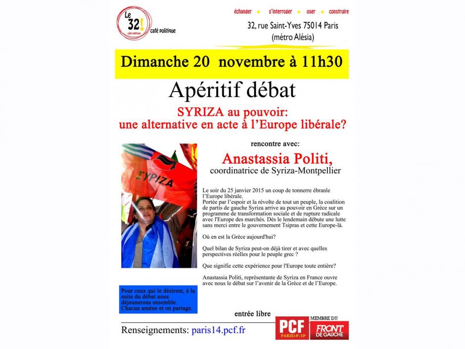 Syriza au pouvoir: une alternative en acte à l'Europe libérale? Avec Avec Anastassia Politi, Coordinatrice de Syriza-Montpellier