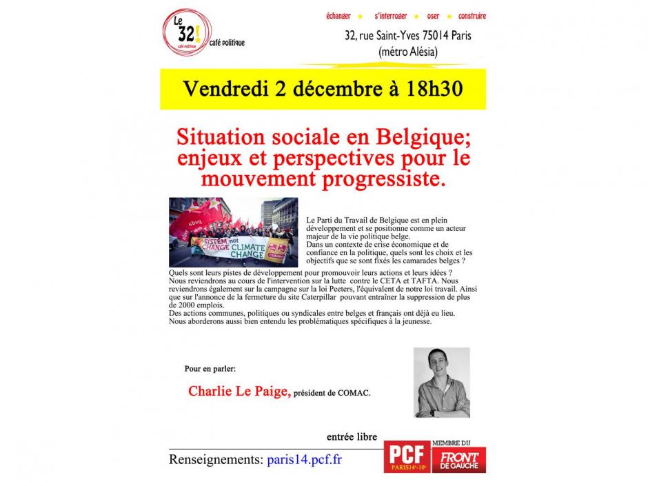 Situation sociale en Belgique; enjeux et perspectives pour le mouvement progressiste