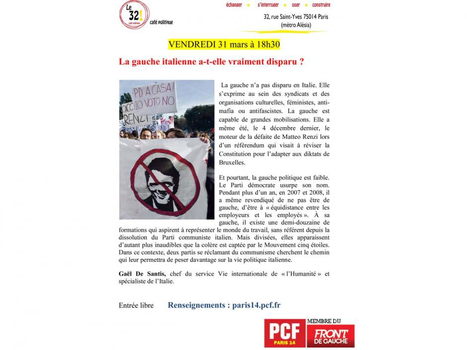 La gauche italienne a-t-elle vraiment disparu? Avec Gaël De Santis, chef du service Vie internationale de «l'Humanité» et spécialiste de l'Italie