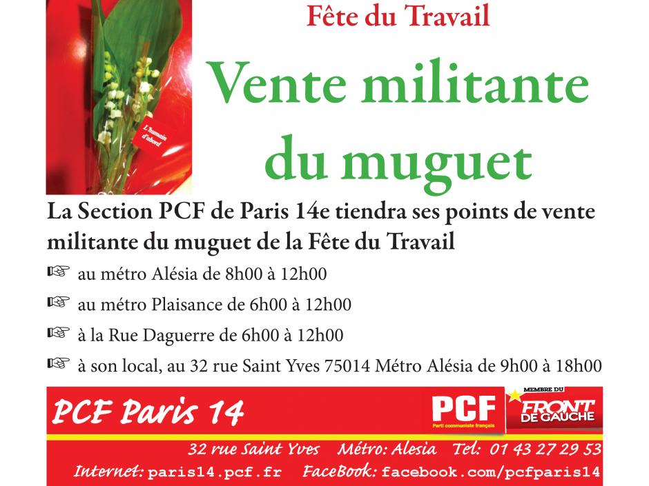 Vente militante du muguet de la Fête u Travail par le PCF Paris 14e