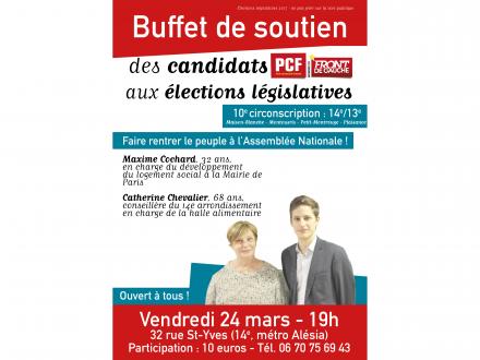 Buffet de soutien des candidats PCF Front de Gauche aux élections législatives dans la 10e circonscription de Paris