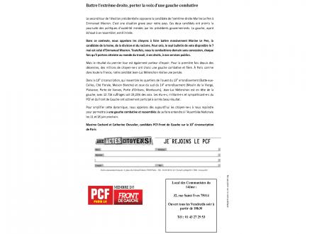 Battre l'extrême droite dans la 10e circonscription de Paris, porter la voix d'une gauche combative