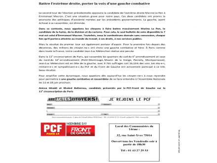 Battre l'extrême droite dans la 11e circonscription de Paris, porter la voix d'une gauche combative