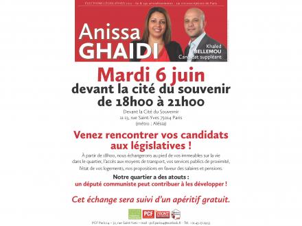 Rencontre avec Anissa Ghaïdi ce mardi 6 juin à la Cité du Souvenir