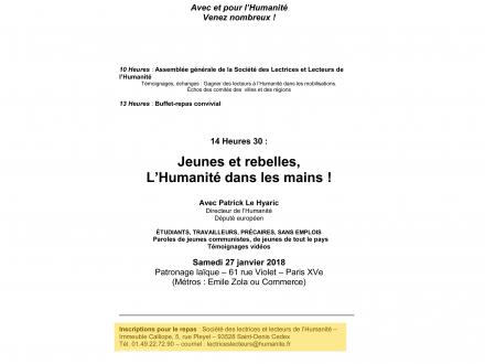 Assemblée générale de la Société des Lectrices et Lecteurs de l'Humanité ce samedi 27 janvier 2018 à Paris
