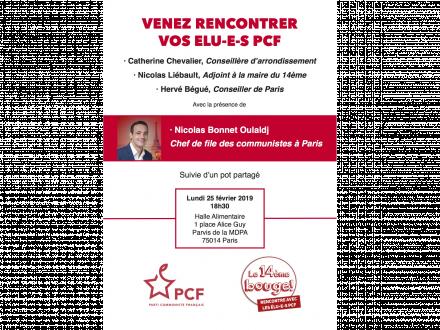 Rencontre avec les élu-e-s PCF de Paris 14e en présence de Nicolas Bonnet Oulaldj, Chef de file des communistes à Paris
