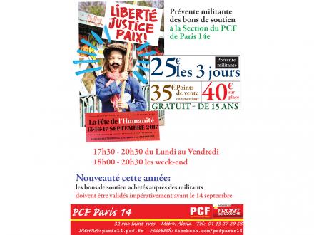 Bons de soutien de la Fête de l'Huma en vente à la Section du PCF Paris 14e