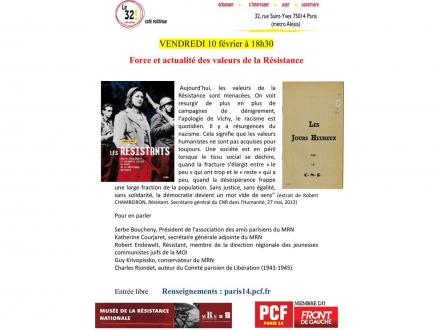 Force et actualité des valeurs de la Résistance Avec Serbe Boucheny, Katherine Courjaret, Robert Endewelt, Guy Krivopissko et Charles Riondet