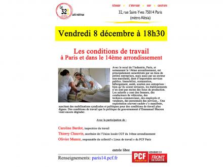 Les conditions de travail à Paris et dans le 14ème arrondissement