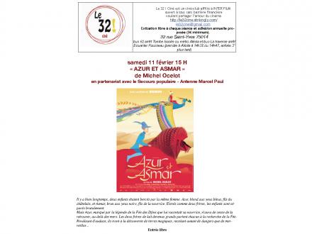 AZUR ET ASMAR AU «32! CINÉ» LE SAMEDI 11 FÉVRIER 2017 À 15H00, 32 RUE SAINT YVES 75014 PARIS, MÉTRO ALÉSIA